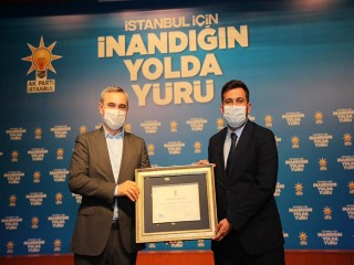 AK Parti Esenyurt İlçe Başkanlığına Teşekkür Belgesi