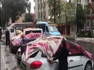 Esenyurt'ta araç sahipleri doluya karşı önlem aldı