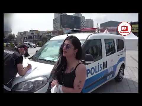 Esenyurt'ta maske takmamakta ısrar eden kadına ceza kesildi..